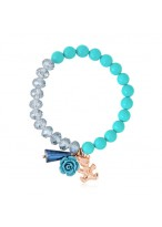 Cool Bear And Rose Crystal Color Stone Beads Bracelets