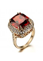 Fashionable Ruby Rose Gold Plated Zircon Ring