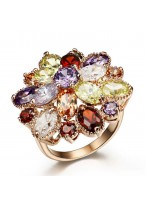 Amazing Rose Gold Plated Flower Crystal Ring  For Women
